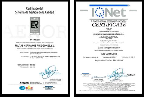 Certificados Frutas HRG
